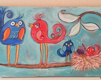 Whimsical Bird Art Etsy