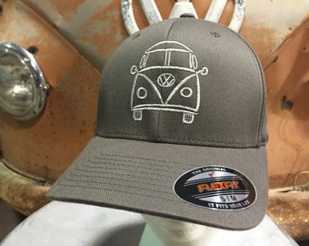 VW Bus Splitwindow Flex Fit Hat.  Structured front with embroidered VW Bus design.  Sizes S/M or L/XL Flex Fit.