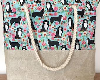 Bernese mountain dog print beach bag