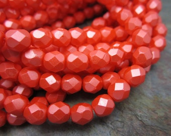 Satin Coral Fire polished 3mm Czech Glass Beads, Dream Girl Beads