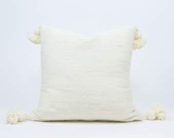 """Authentic Moroccan Wool Pom-Pom Pillow // Decorative Throw Pillow (20"""")"""