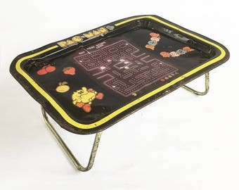 1980s Pac-Man Metal Litho Lap Tray, Video Game Graphics, Pac-Man TV Tray