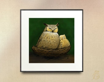 Great Horned Owl Mom and Baby // nursery art Illustration // Drawing // Digital Illustration //  // picture wall art // 8x10 11x14 print