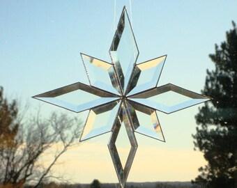Beveled Glass Stained Glass Suncatcher Star