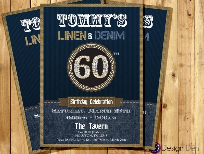 Adult Birthday Denim And Linen Invitation Denim Pattern