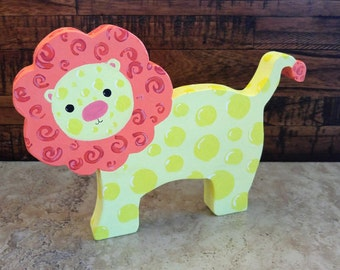 Wooden Lion, Toy and Nursery Decoration, Decoration