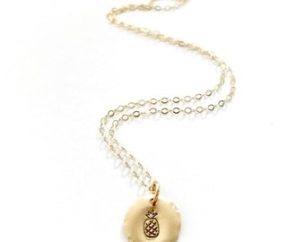 Pineapple Charm Necklace, Hawaii Jewelry, Pineapple Jewelry, Gold Necklace, Initial, Beach jewelry, Hawaii