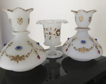 Victorian Opaline Jewelled set of 3 Vases