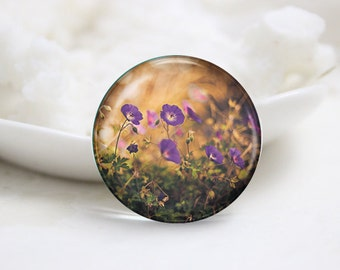 Round Glass Photo Cabochons Photo Glass Cabs-Flower (P3105)