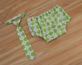 Baby Neck Tie and Diaper Cover in Green Argyle, Baby Boy Clothing, Baby Boy Cake Smash, Lime Green Birthday