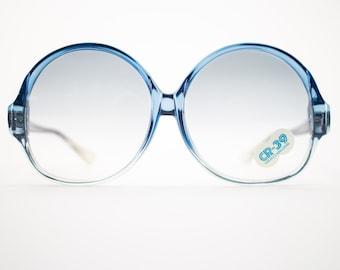 Vintage Sunglasses | Round Oversize Clear Blue Sunglasses | 1970s Deadstock - 1070 Blue
