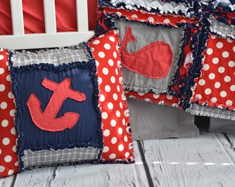 Throw Pillow Sham Nautical Anchor -16 inch Pillow Sham - Boy Bedroom Accessory for Children, Preteen, and Home Decor - Red, Navy Blue, Gray