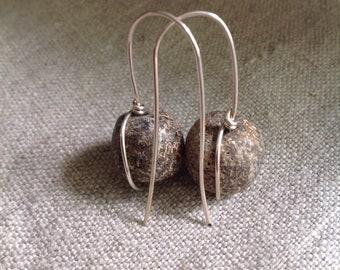 Sterling & woolly mammoth earrings