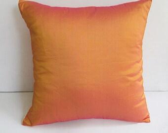 Tangerine orange pillow orange Dupioni silk decorative pillow cover. Orange Raw silk cushion cover made to order 18 inch