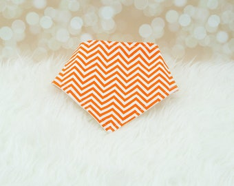 60% OFF SALE! Baby Bandana Drool Bib - Tiny Orange Chevron ||| bibdana, drool bib, dribble bib, bandana bib sale, bibdanna, baby bibdana