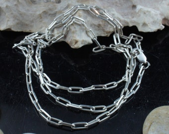 STERLING SILVER 925 India Vintage Art Deco Jewelry Necklace  chain anchor design 26'' long Modernist st247