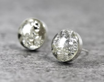 Clear Eco Resin Stud Earrings with Fine Silver Flakes