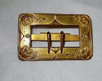 Antique Victorian Art Nouveau Brass Belt Buckle, Floral Signed Colonial