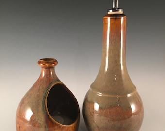 salt cellar with spoon, salt pig, pottery salt pot, rich mottled brown glaze, with bamboo spoon