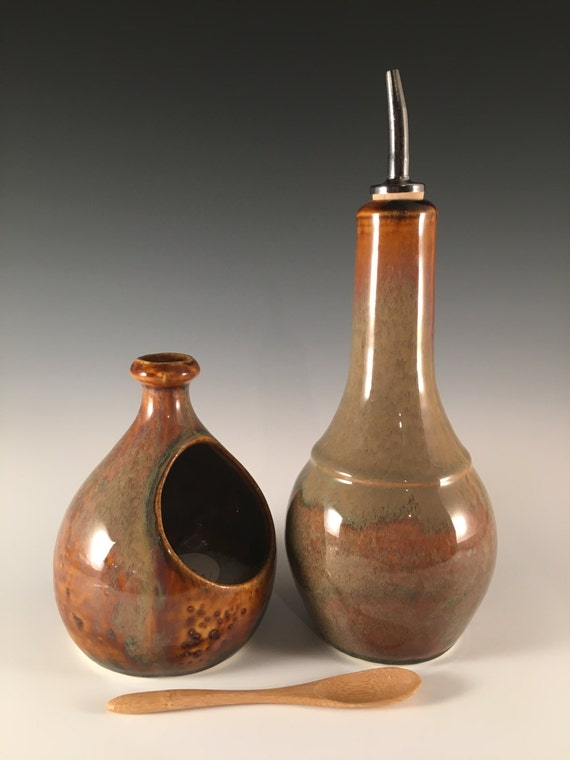 salt cellar in rich mottled brown