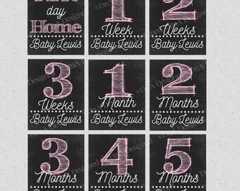 Baby Month DIGITAL Chalkboard Prints - Monthly Milestones for Little One - DIY Prints