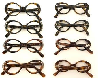 60s NOS Rhinestone Smaller Bubble Eyeglass Frame Tortoise Shell Amber Brown Cat Eye Sunglasses Unused. Twiggy Iris APfel.  Pick a Shade SALe