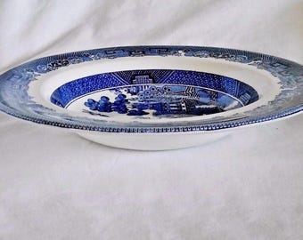"""Vintage Johnson Brothers Willow Blue and White 8.5"""" Rimmed Soup Bowl"""