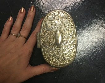 Vintage, Silver, Velvet Lined, Jewelry Box