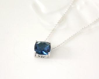 Blue Stone Necklace,dark blue,bridesmaid necklace, deep blue necklace,stone in bezel, glass stone,Sapphire Blue,Montana blue
