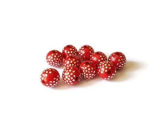 Red dots round beads silver 8mm