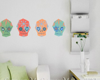 Sugar Skull Wall Decals Mid century modern style removable vinyl fabric