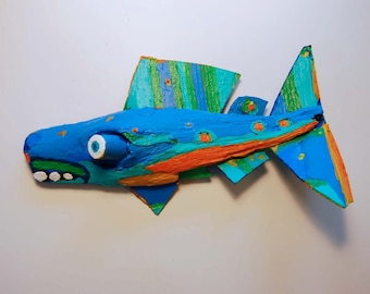 Painted Driftwood Fish Art - Colorful Rustic Recycled Material Handmade Ready to Hang anywhere for Decortative Wall Decor