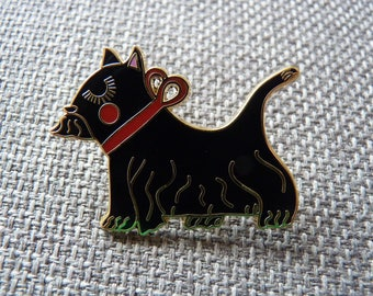 Enamel Scotty Dog Pin Brooch