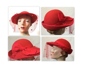 Vintage 70s Red Felt Hat with Flocked Veil and Large Bow
