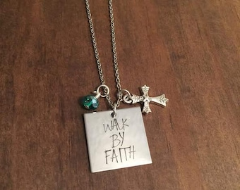 Walk By Faith Necklace- Walk By Faith Hand Stamped Jewelry- Hand Stamped Necklace- Christian Jewelry- Inspirational Jewelry- Easter Jewelry