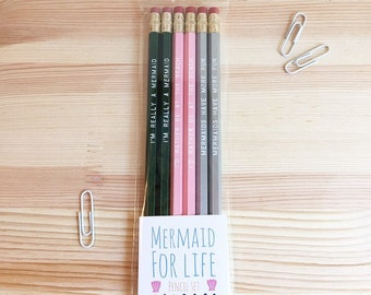 Mermaid For Life Engraved Pencil Set, coworker gift