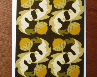 Acorn Oak Leaf Pattern Note Card