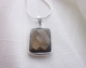 Square facetted, Drop, Smoky Quartz, Silver Pendant Necklace