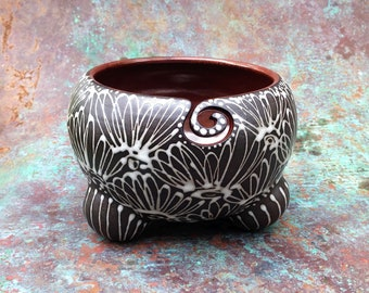 Lacy Black Ceramic Yarn Bowl