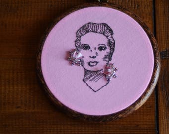"Grace Kelly embroidery hoop art with beadwork in 5"" hoop. Home decor; embroidered art; female celebrity portrait"