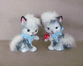 Vintage Cat Figurines, 1960's Ceramic Cat Figurine, Japan, Cat with Hair, Fur, 1960's Mid Century Decor