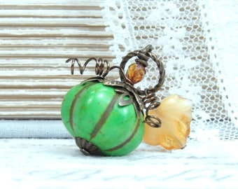 Green Pumpkin Necklace Thanksgiving Necklace Fall Gift Pumpkin Pendant Autumn Necklace Pumpkin Gift