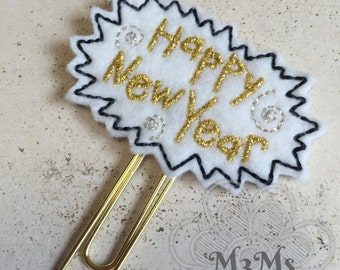 Happy New Year Feltie paperclip, Feltie Bookmark, Planner Clip, New Year Planner, Planner Paperclip, Happy New Year Feltie, New Year Feltie