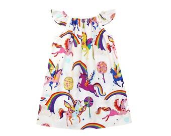 Rainbow Unicorn Dress - Girls Dress - Baby Dress - Toddler Dress - Birthday Dress - Unicorn Birthday - Party Dress - Girls Dresses
