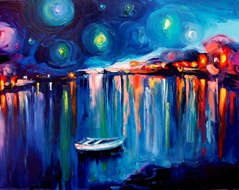 Midnight Harbor XXII - 24x36 abstract boats fine art print reproduction by Aja ebsq
