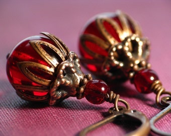 Dionysian Desires - Wine Red Czech Glass and Antiqued Copper Earrings