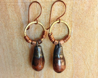 Earthy Mixed Metal Earrings OOAK Bohemian Earrings Boho Copper Brass Bronze Handmade Porcelain Drops Glitter Earthy Elemental Unique