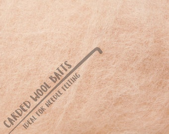 50g 100g 200g Skin Tone Colour Carded Wool Batts For Needle Felting | 100% Sheep Wool | Needle Felting Wool