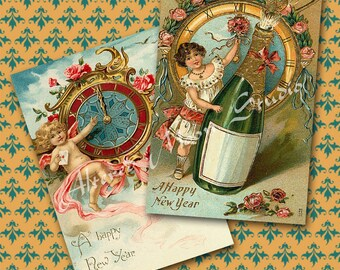 Vintage New Years Collage Sheet 2