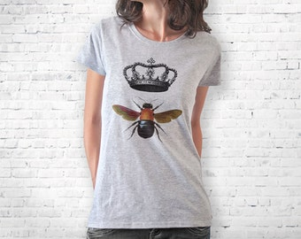 Queen bee T-shirt-bee t-shirt-women clothing-wedding t-shirt-crowned bee tank top-insect tee-save the bees shirt-by NATURA PICTA-NPTS013
